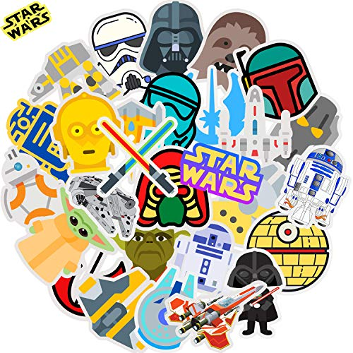 Star Wars Stickers for Hydro Flask Laptop Water Bottle | Premium Vinyl Big Waterproof | Funny Trendy VSCO Cool Decal Gift Pack for Teen Kid Adult Girl Boy HydroFlask Skateboard Phone Computer Helmet, 30PCS