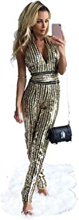 AIDEAR Women's Gold Sequin Deep-V Strapless Backless Playsuit Sequined Jumpsuits