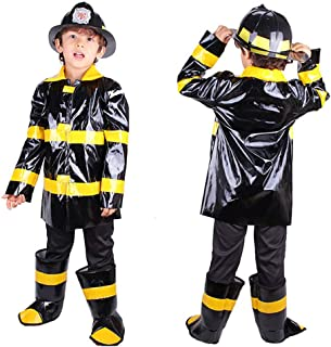 Firemen Costume Set Cosplay Dressing Up for Boys Kids Birthday Halloween Xmas Holiday Party Occasion Dance Outfit