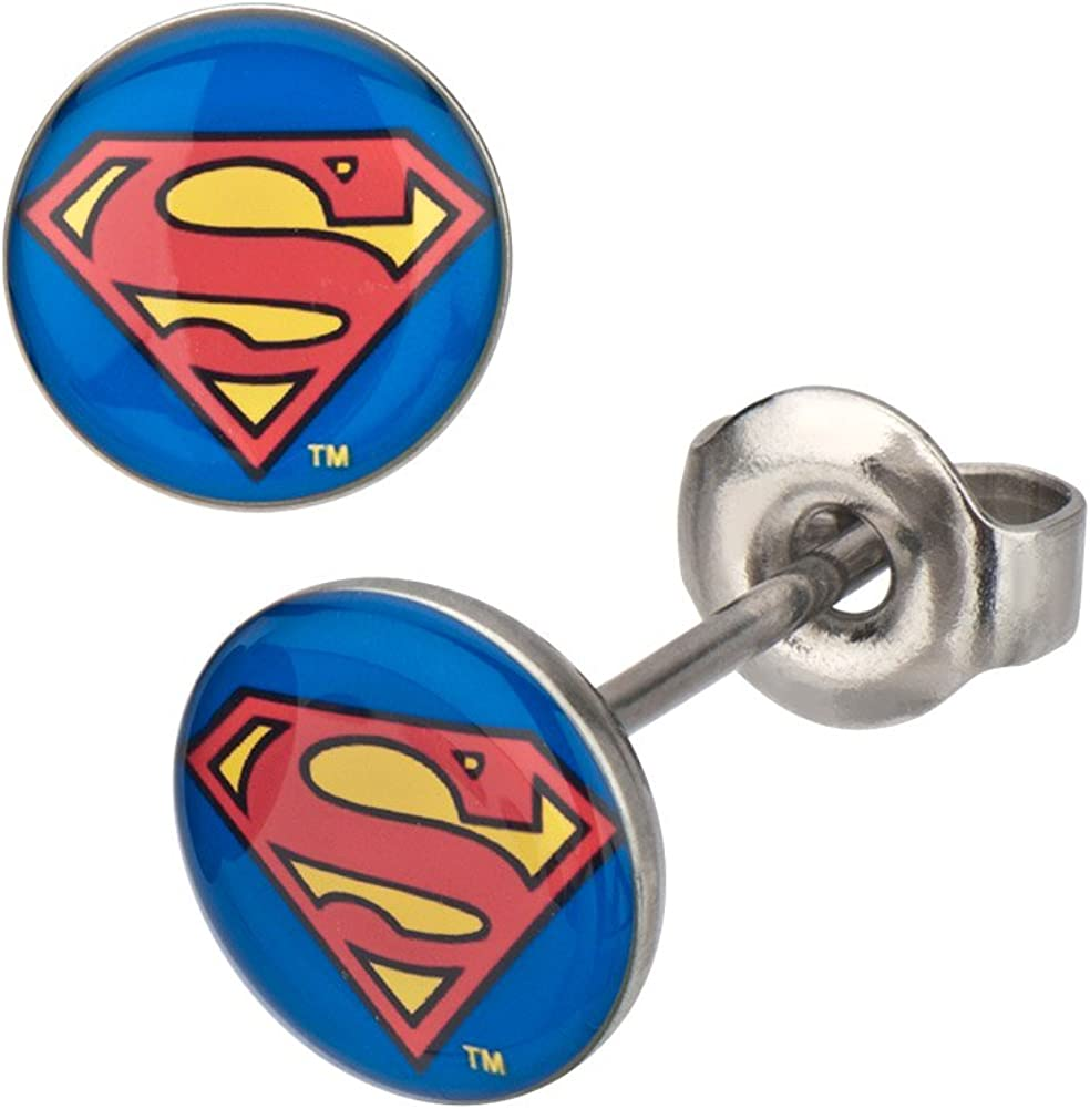 DC Comics Superman Classic Shield Logo Stud Earrings