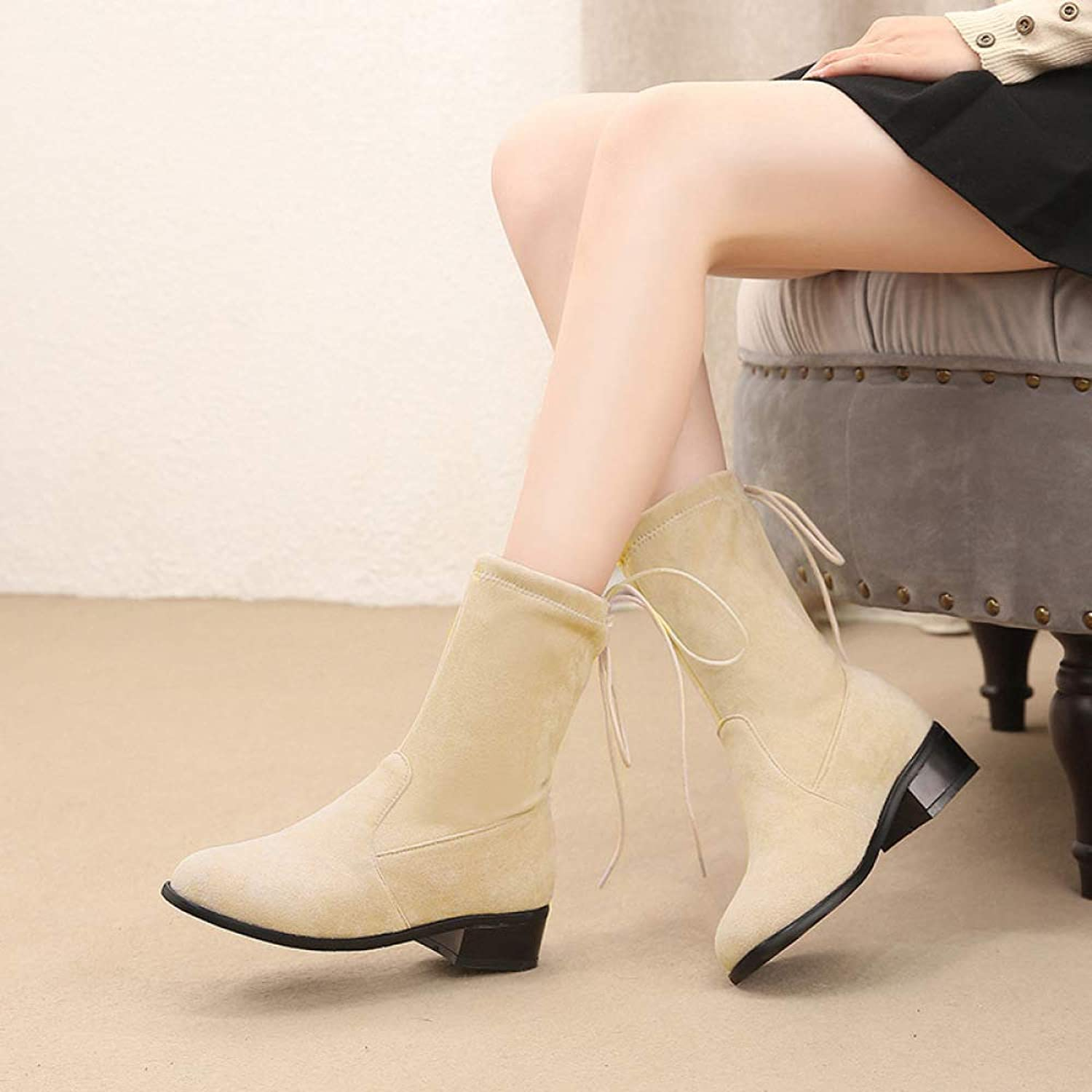 Boots for Women, Square with Heel Short and Bare Boots, Elastic Warm Boots