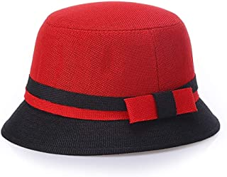 Lei Zhang Spring and Summer Ma Korean Fashion hat Visor 靓 Mother Basin hat Lady Sun hat (Color : Black+Red)