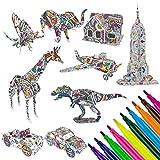 Rompecabezas para Colorear 3D,WolinTek DIY Arts Crafts Puzzle Kit Regalo de Juguete para niños Kit de Manualidades de Pintura educativa Regalo de cumpleaños Juguete con 9 Animales Rompecabezas