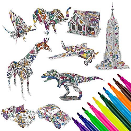 WolinTek 9 Pack Puzzle da Colorare 3D Art And Craft Set,Puzzle da Colorare 3D, Gioco Puzzle di Pittura 3D, Regalo Art And Craft Set con 30 Pennarelli per Tutte le età