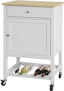 SoBuy Carrello Cucina Credenza Bianca con cassetto Armadio e portabottiglie FKW73-WN