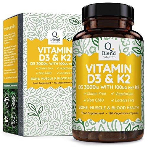 Vitamine D3 Triple Puissance 3000UI &Vitamine K2 MK7-120Capsules Végétariennes - Pour La Santé Des Os, Des Muscles - Vitamine D Haute Absorption du Cholécalciférol. Fabriqué au Royaume Uni Nutravita