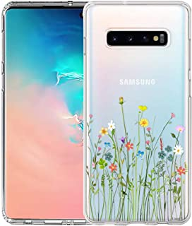 Unov Galaxy S10 Case Clear with Design Soft TPU Shock Absorption Slim Embossed Floral Pattern Protective Back Cover for Galaxy S10 6.1in (Flower Bouquet)