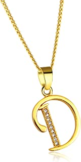 Initial Alphabet Pendant Necklace 18K Gold Plated A-Z Letter Cubic Zirconia Personalized Necklaces Gift for Women Fashion Jewelry
