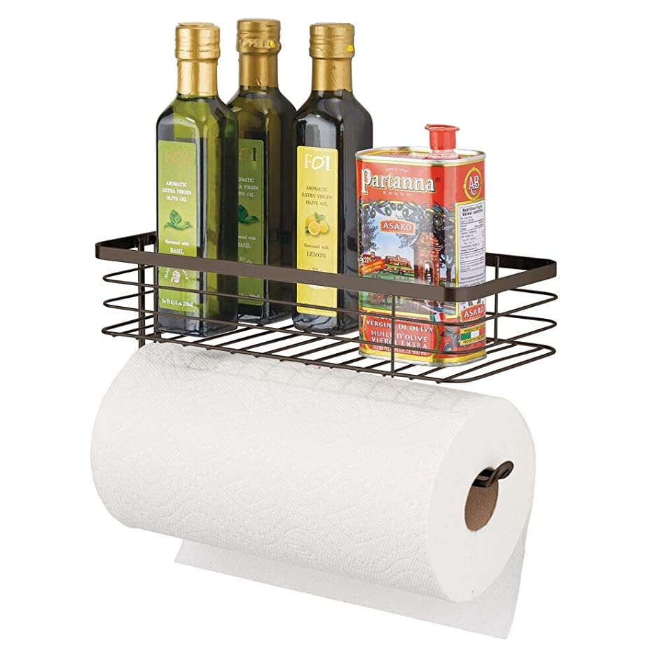 mDesign Paper Towel Holder with Spice Rack and Multi-Purpose Shelf - Wall Mount Storage Organizer for Kitchen, Pantry, Laundry, Garage - Durable Metal Wire Design - Bronze
