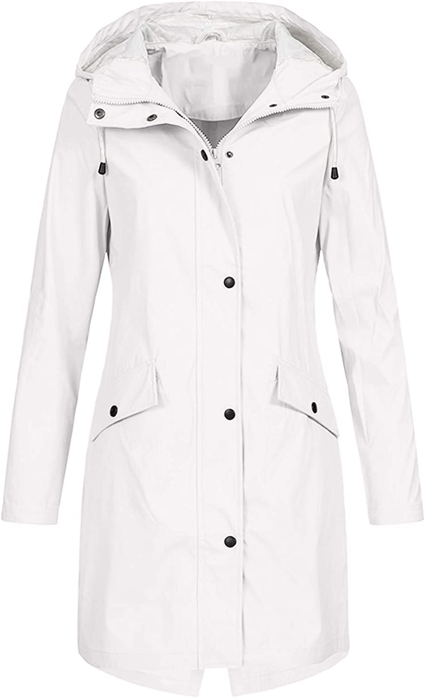 Womens Rain Jacket Plus Size Rain Coats with Hood Llightweight Long Anoraks Trench Waterproof Poncho Outdoor Windbreaker