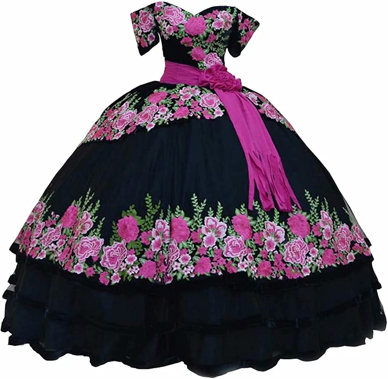 Printed Floral Appliques Quinceanera Dresses Charro Ball Gown Off Shoulder Sweet 15 Girls 2021