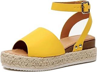 81f0dc99410cc Sandale Femme Compensées Espadrilles Ete Cuir Plateforme Bout Ouvert 5 CM  Talon Chaussure Plates Plage Confort