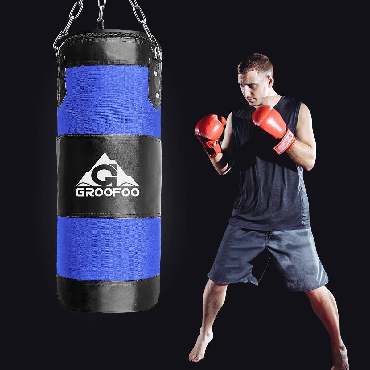 GROOFOO Boxsack Kinder Hochleistungs Oxford Boxsack f/ür Kinder Jugendliche und Erwachsene UNGEF/ÜLLTE Tasche mit Mount Chain Heavy Duty Pouching Bag f/ür Boxtraining MMA Muay Thai