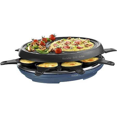 Tefal Raclette Colormania 3 en 1 Appareil à Raclette Grill et Crêpe, Revêtement Antiadhésif Easy Plus, 8 Coupelles, Compatible Lave-Vaisselle, 1050 W, Bleu Acier RE310401