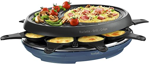 Tefal Raclette Colormania RE310401 3-in-1 raclette-apparaat grill en crêpe-antiaanbaklaag, Easy Plus, 8 schalen, vaatwasma...