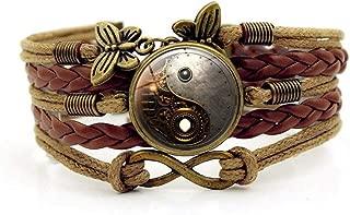 Bracelete Steampunk Pulsera Tejida, Arte Steampunk,Tiempo Pulsera De Piedras Preciosas De Múltiples Capas De Combinación De Vidrio Tejido