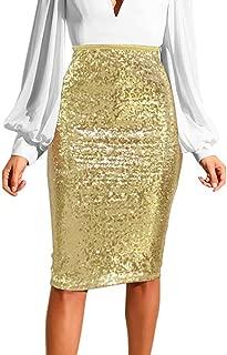LISTHA Pencil Zipper Sequin Skirt Women Solid Slim High Waist Push up Skirts