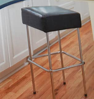 At Home With Meijer 29-Inch Contemporary Chrome Bar Stool, Faux Leather Padded Seat