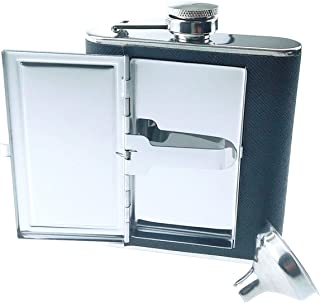 Time Roaming Hip Flask PU Leather Stainless Steel Wrapped With Built-In Cigarette Case (5 Once, Black)