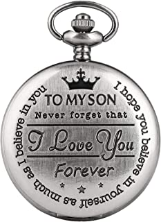 Classic to My Son Series Pocket Watch for Men, Gun-Color Pocket Watches for Male, Honorable Link Chain Pendant Watch for Adult