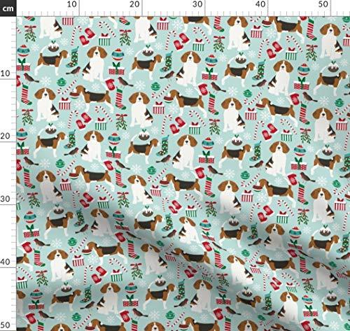 Weihnachtsstoff, Hunde, Hund, Beagle, Beagles Stoffe - Individuell Bedruckt von Spoonflower - Design von Petfriendly Gedruckt auf Baumwoll Spandex Jersey