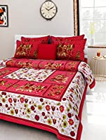 Stylo Queen Printed 120 TC Handprinted Cotton Queen Size Bedsheet with Pillow Cover - Queen Size, Multi Color