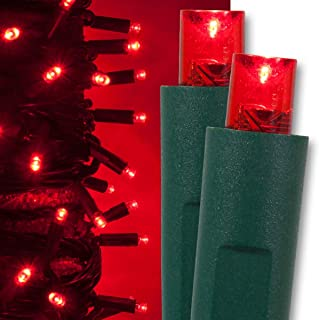 Kringle Traditions Red Christmas Mini String Light Set, 50 LED Lights, 25 ft Indoor/Outdoor Red Christmas Lights Decorations Valentines Day Lights Party Christmas Tree Lights Red, 6