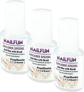 Lot de 3colles à ongle Nailfun - 3x 7,5g - Pinceau inclu