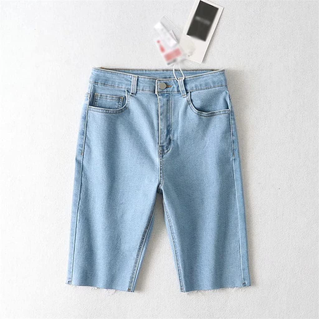 PDGJG Boston Mall Summer Women Knee Length Button Max 76% OFF High Outside Shorts Zipper