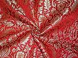 Pure Heavy Silk Brokat-Stoff, Rot, Braun & Metallic Gold