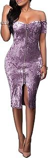 Minetom Damen Schulterfreies Reißverschluss Vorne Bodycon Midikleid Hoch Taille Abendkleid Pencil Club Party Cocktail Kleid