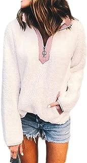 FSSE Womens Fall Winter Coat Turtle Neck Long Sleeve Sherpa Pullover Sweatshirt