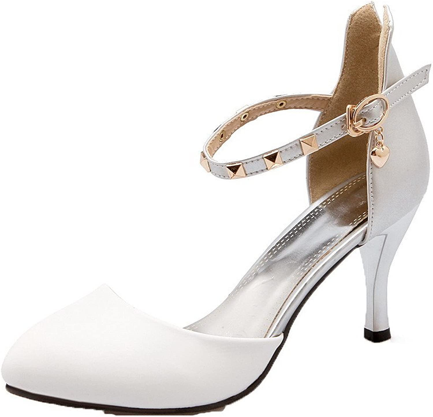 WeenFashion Women's High-Heels PU Assorted color Buckle Closed-Toe Sandals