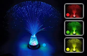 PlayLearn Fiber Optic Lamp Colour Changing Crystal Base - 4 Colours - 13 Inch Mood Novelty Lamp