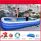 Summer Portable Deluxe Family Large Inflatable Paddling Pool Incl Repair Patch con Bomba de Aire eléctrica Inflable Baby Swim Ring Ocean Ball Pool Water Play Center