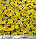 Soimoi Jaune Maillot de Coton en Tissu Texte, Ballon de Rugby et Oiseau Dessin animé Tissu Imprime par Metre 58 Pouce Large
