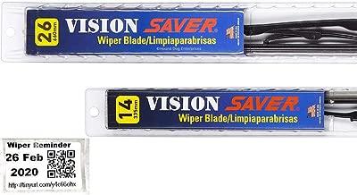 Vision Saver - Windshield Wiper Blade Bundle - 3 Items: Driver & Passenger Blades & Reminder Sticker fits 2007-2011 Nissan Versa