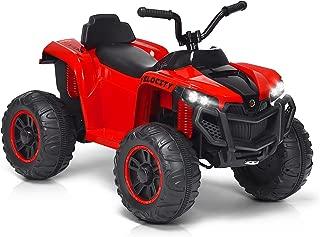 HONEY JOY Kids ATV, 4 Wheeler Ride On Quad, 12V Battery Powered Electric Toy with Spring Suspension, Adjustable Speed, LED Lights, Music, Horn (Red)