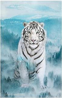 Hoffman Fabrics Digital Call Of The Wild 30'' White Tiger Panel Ice Blue Fabric Multi