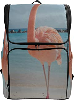 Pink Flamingo Walking On The Blue Salt Lake Sea Sports Cooler Bag Casual Daypack Hiking Bags For Women Hiking Bag Canvas Fits 15.6 Inch Laptop And Notebook Womens Bags College College Lunch