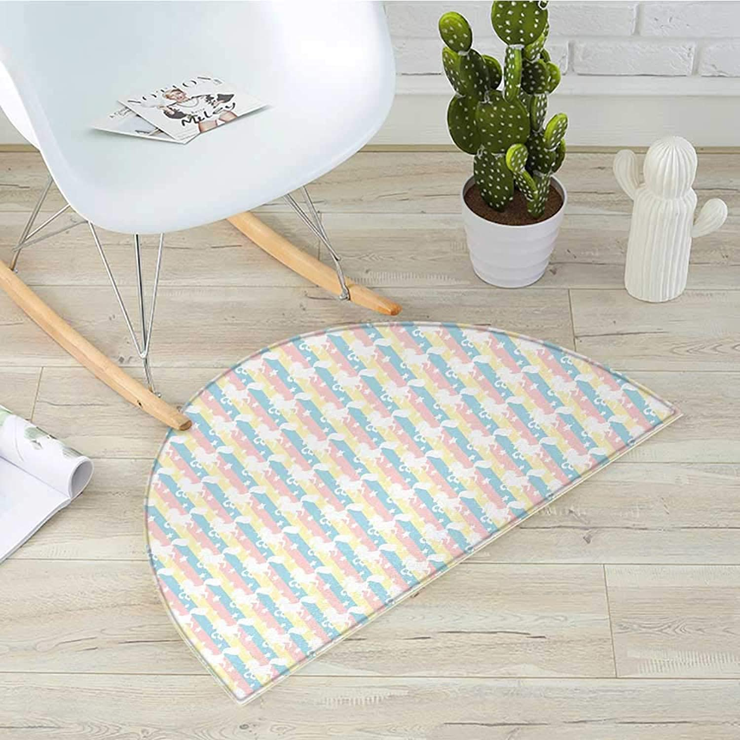 Unicorn Semicircular CushionPastel colord greenical Stripes with White Unicorn Silhouettes and Stars Fantasy Entry Door Mat H 27.5  xD 41.3  Multicolor