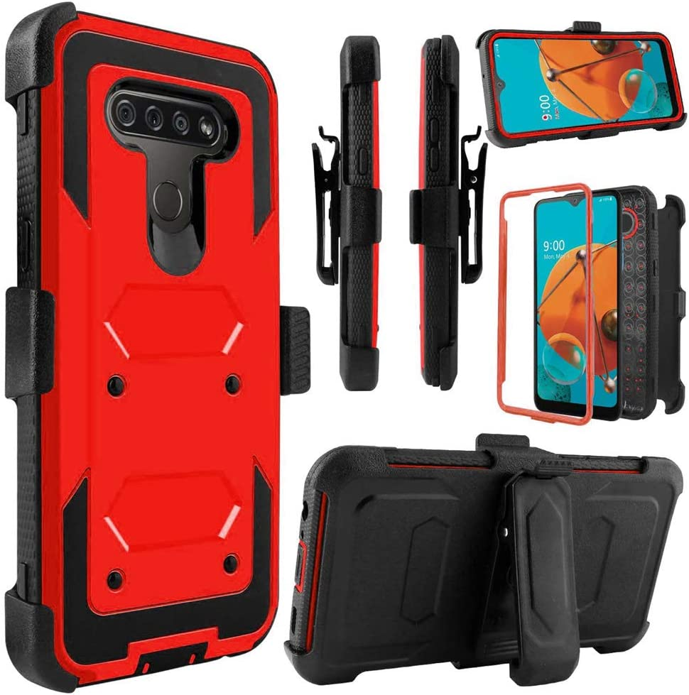 Telegaming Holster Case for LG K51, LG Q51/ LG Reflect Phone Case with Belt Clip Screen Protector, Heavy Duty Shock Absorption Hybrid Amor Cover for Women Men Girls Boys -Red