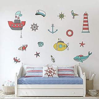 Runtoo Pegatinas de Pared Náuticos Faro Stickers Adhesivos Vinilo Peces Decorativas Baño Infantiles Habitacion Bebe