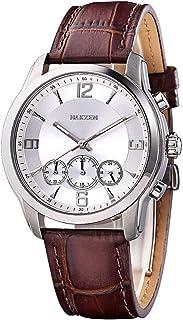 Men Watch Leather Nakzen Luxury Slim Genuine Strap Wristwatch Men's Analog Minimalist Quartz Watch Classic Casual Dress Watches for Men Waterproof