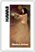 Pacifica Island Art Hawaii - Western Airlines - Hawaiian Hula Dancer - Vintage Hawaiian Travel Poster c.1960s - Hawaiian Master Art Print - 12 x 18in