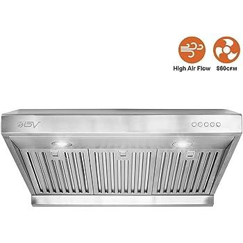 BV Range Hood - 30/36 Inch 750 CFM Under Cabinet Stainless Steel Kitchen Range Hoods, Dishwasher Safe Baffle Filters w/LED Lights, Ducted Kitchen Exhaust Fan Hood (30 Inch - 750 CFM/RH-01)