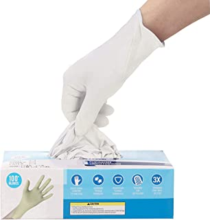 50 Pairs Gloves Ship from USA, Hizek Soft Industrial Gloves, Latex Free,Cleaning Glove for Family Use,Arrive in 7-10 Days (S,M,L) (White, L)