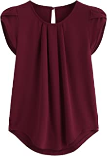 429e4483 Milumia Women's Casual Round Neck Basic Pleated Top Cap Sleeve Curved  Keyhole Back Blouse