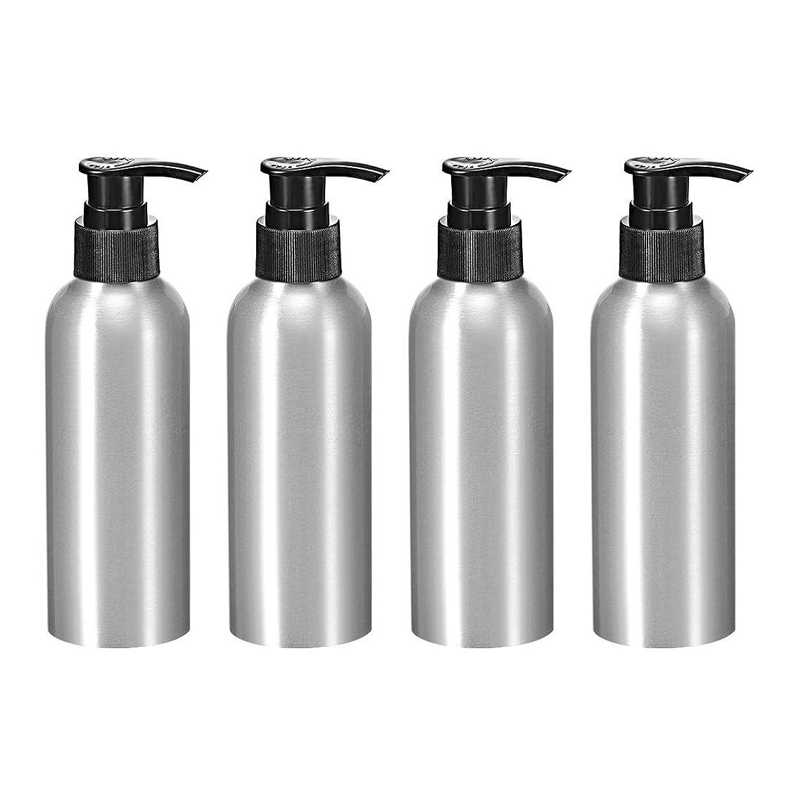 辛い入場分割uxcell アルミスプレーボトル 細かい霧のスプレーヤー付き 空の詰め替え容器 トラベルボトル 8.4oz/250ml 4個入り