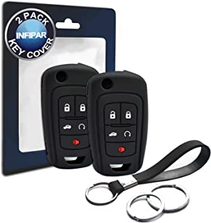 2pcs Compatible with Buick Flip 5 Bt Silicone FOB Key Case Cover Protector Keyless Remote Holder for 2010-2019 Chevrolet Camaro Cruze Equinox Impala Malibu Limited, GMC Terrain, Buick LaCrosse Regal